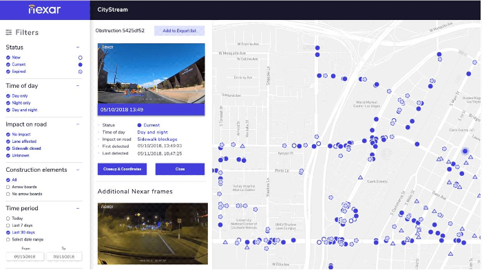 Nexar's connected vehicle platform detecting Las Vegas